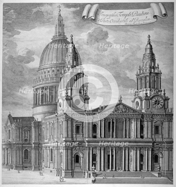 St Paul's Cathedral, City of London, c1715.                                             Artist: Anon