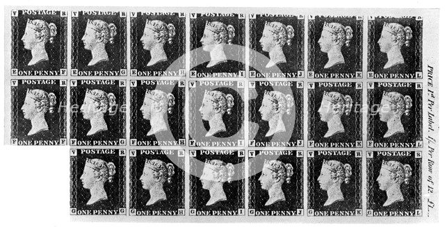 Block of twenty 'Penny Black' stamps, 1840, (1910). Artist: Unknown
