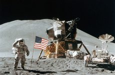 Thumbnail image of Astronaut James Irwin (1930-1991) gives a salute on the Moon, 1971.Artist: NASA