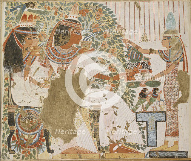 Copy of wall painting, private tomb 51 of Userhet, Thebes, 20th century. Artist: Anna (Nina) Macpherson Davies.