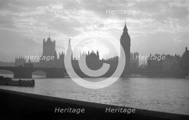 Sunset over the Palace of Westminster, London, c1945-c1965 Artist: SW Rawlings