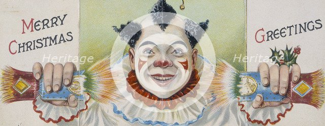 Christmas card; clown pulling a cracker, early 20th century. Artist: Unknown