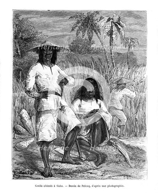 Chinese workers, Cuba, 19th century. Artist: Pelcoq