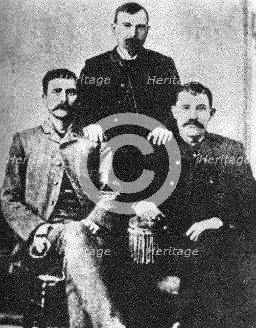 Pat Garrett, James Brent and John W Poe, sheriffs of Lincoln County, c1880-1882 (1954). Artist: Unknown