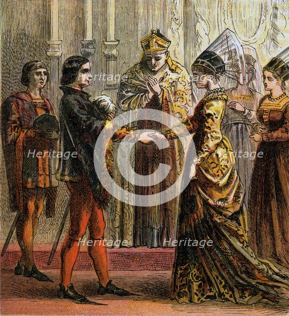 'Marriage Of Henry V', 1420, (c1850). Artist: Unknown