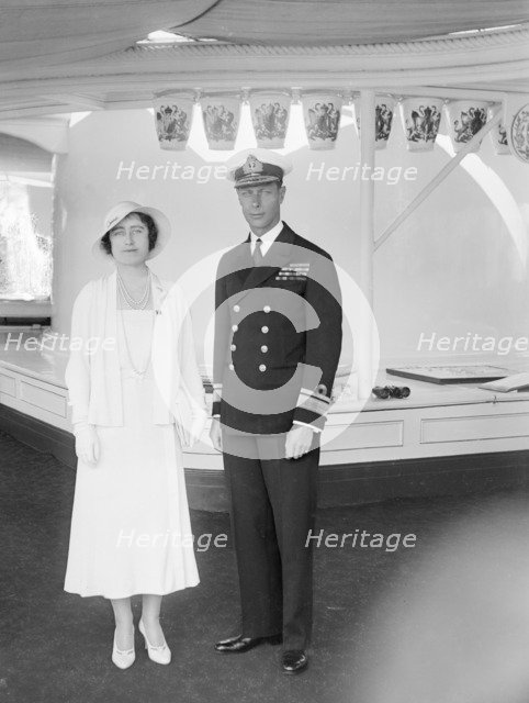 The Duke and Duchess of York aboard 'HMY Victoria and Albert', 1933. Creator: Kirk & Sons of Cowes.