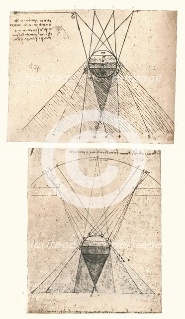 Two diagrams illustrating the theory of light and shade, c1472-c1519 (1883). Artist: Leonardo da Vinci.