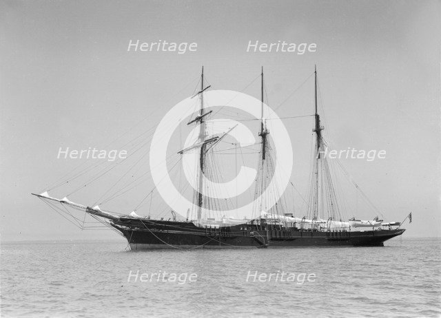 The 3 masted auxiliary schooner 'St George', 1911. Creator: Kirk & Sons of Cowes.