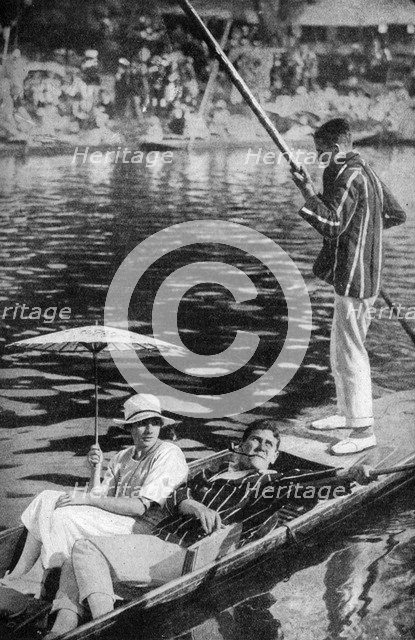 Punting on the Thames, c1922. Artist: Unknown