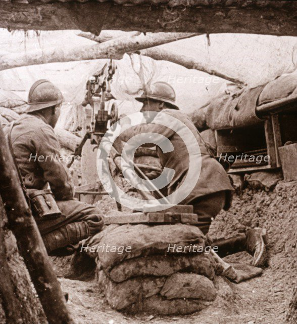 Camouflaged machine gun, c1914-c1918. Artist: Unknown.