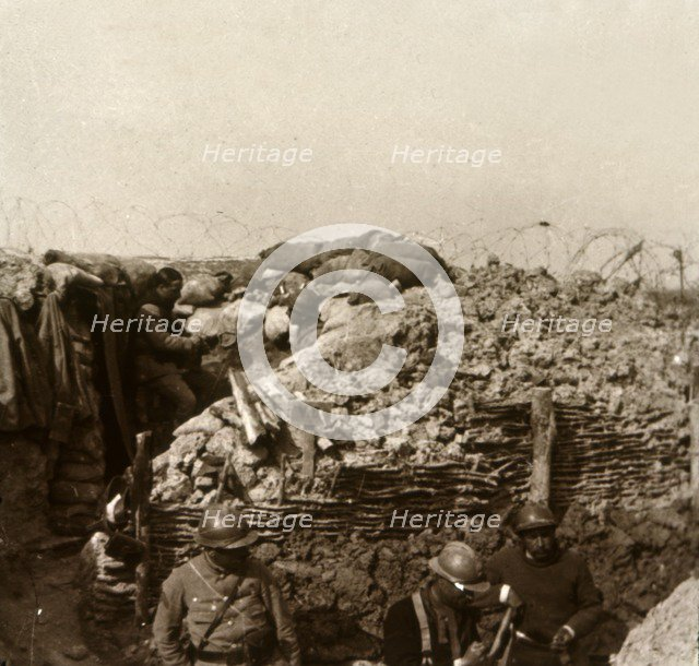 Trenches, Champagne, northern France, c1914-c1918. Artist: Unknown.