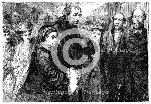 The visit of Queen Victoria (1819-1901) to Hughenden Manor, High Wycombe, 1877. Artist: Unknown